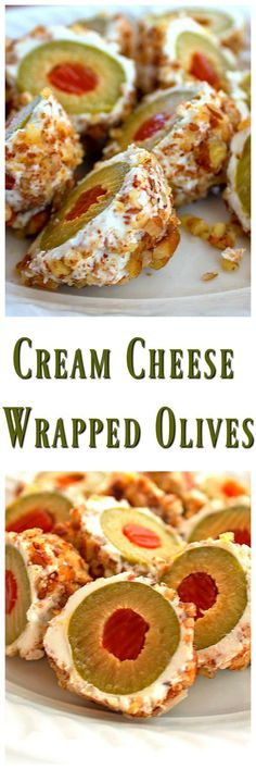 Cream Cheese Wrapped Olives - Bunny's Warm Oven - Cream Cheese Wrapped Olives…This is a fantastic little appetizer that only requires 3 ingredients - Finger Food Appetizers, Yummy Appetizers, Appetizers For Party, Appetizer Recipes, Snack Recipes, Cooking Recipes, Avacado Appetizers, Prociutto Appetizers, Elegant Appetizers