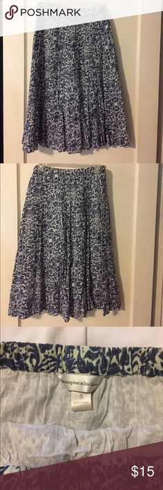 Christopher and banks peasant skirt Chambray and cream , worn only a few times, like new , no flaws Christopher & Banks Skirts Midi