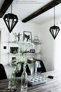 hundkex,industriellt kök,taklampor,vitt och svart,svarta barstolar,köksö,hylla i köket,artprint,prints,äggkorg,kalenderblock,kök