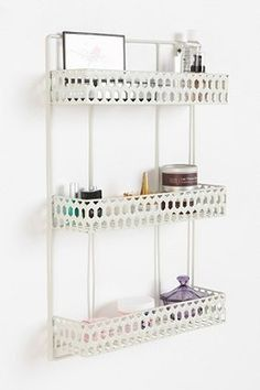 Triple-Decker Shelf with a wall mirror for vanity set up
