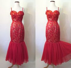Hot Tamale 1950's Red and Gold Brocade Mermaid by wearitagain