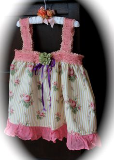 Boho Shabby Chic Cami Top Girls Layered Stripes and Roses and Pinky Pink Mori Girl  Izzy Roo StyleLagenlook