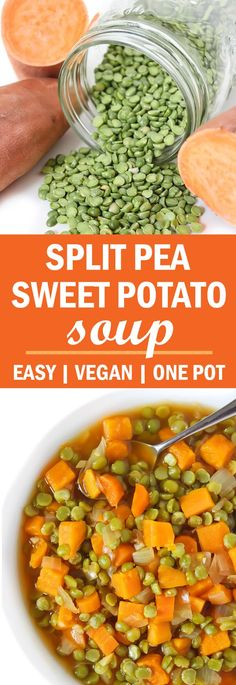 EASY, 7-ingredient, super healthy Split Pea Sweet Potato Soup! So much flavor and nutrition. My daughter's most requested meal! #vegan #soup