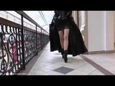 Ballet Heels - Markissa walking at GUM in ballet boots & latex coat…