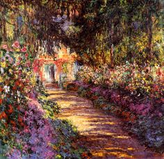 Pathway in Monet's Garden at Giverny by Claude Monet. I will forever love Claude monet. Monet Paintings, Impressionist Paintings, Landscape Paintings, Pierre Auguste Renoir, Art Du Monde, Oil Painting Reproductions, Wassily Kandinsky, Henri Matisse, Art And Architecture