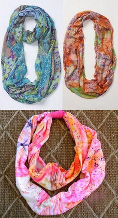 Infinity scarf made with t shirt and sharpies.