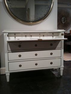 This Century Classical Chest in Cream with Brass pulls was absolutely stunning! It has a very glam look. I could imagine Audrey Hepburn sitting here putting on her jewelry. The quality is exquisite. Modern History is at 430 N Wrenn St Entry Furniture, Find Furniture, Furniture Making, Furniture Design, Sofa Dining Table, History Of Modern Art, Interior Design Business, Ottoman Bench, Modern Classic