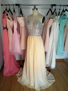 Deep V-neck Daffodil Prom Dress Long Crystals by PromDressHeaven Evening Dresses, Prom Dresses, Formal Dresses, Wedding Party Dresses, Daffodils, V Neck, Trending Outfits, Dress Long, Inspiration