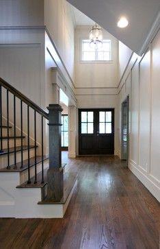 Foyer entry hall black doors stairs board batten from Rambling Renovators