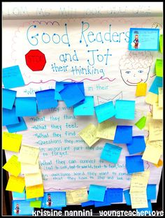 Good Readers Stop and Jot Their Thinking Anchor Chart - Young Teacher Love by Kristine Nannini