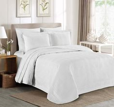 FIRST CHOICE OPTION 1 - geometric quilting, shams have borders. Might be the best option for the price - nice, simple quilting, comes with 2 shams, $45.99. Amazon.com: Chezmoi Collection Kingston 3-piece Oversized Bedspread Coverlet Set (Queen, White): Home & Kitchen 56m.