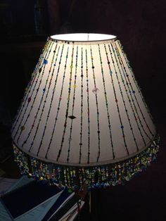 Beaded lampshade i made from an old lampshade wire frame and close beaded lampshade greentooth Images