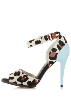 Today's So Shoe Me is the Gisele Strappy Cup Sandals, $120, by and available at Topshop. Add a pastel punch to classic leopard print in these signature strappy sandals by Topshop.