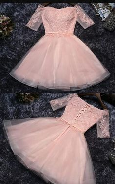 Cute Appliques Tulle Half Sleeves Short Prom Dress,Mini Off-shoulder Homecoming Dress This homecoming dress is so nice. It can be made with custom sizes and color. Junior Formal Dresses, Cute Homecoming Dresses, Prom Dresses With Sleeves, Tulle Prom Dress, Lace Dress, Prom Gowns, Dama Dresses, Short Dresses, Party Dresses