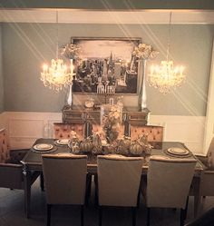 Palais Dining Table & Buffet, Lola Arm/Side chairs, Talia Chandelier, & Beaded Pumpkins.