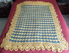 Caron simply soft country blue sunshine diamonds lace blanket ...free crochet pattern!
