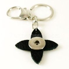 Full Grain Black Leather Double Clip Star Keychain for Snap-It/Ginger Charms ~ One clip for your keys and one clip for your phone!