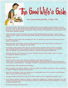 Printable Retro Housewife themed Bridal Shower Display Print - A Good Wife's Guide 11x14 by onelovedesignsllc on Etsy https://www.etsy.com/listing/128226803/printable-retro-housewife-themed-bridal