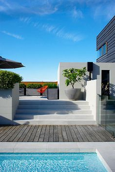 Modern pool, raised garden beds, coping and timber deck combined