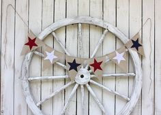 Star burlap banner red white bluepatriotic4th by victorianstation, $34.00