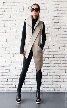 Beige Elegant Zipper Vest/Asymmetric Casual Long Top/Extravagant Dinner Tunic/Sleeveless Beige Coat/Beige Collar Shirt/Office Shirt Top - All About Black Women Fashion, Curvy Fashion, Womens Fashion, Ladies Fashion, Feminine Fashion, Fashion Top, Fashion 2018, Fashion Vest, Fashion Boots