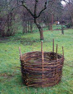 weaving a compost bin