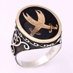 Zülfikar temalı, gümüş erkek yüzüğü