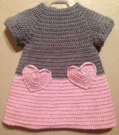 """I like the idea of crocheting a heart and making it into a pocket on a fabric shirt/skirt/dress. [ """"Soft & Beautiful Crocheted Pink and Grey Baby Toddler Dress Heart Pockets…"""", """"Color idea only."""", """"Lily by Michael Sodeau for Modus"""" ] # # # # # # # # # Crochet Girls, Crochet Baby Clothes, Crochet For Kids, Knit Crochet, Crochet Bebe, Crochet Children, Crochet Hearts, Baby Patterns, Knitting Patterns"""