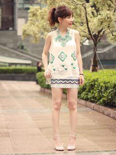 White Sequins Beaded Sleeveless Chiffon Shirt$32  http://www.udobuy.com/goods-10833.html#.Ua7XB9j66O0