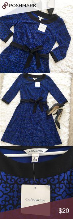 Croft & Barrow Dress size Small Croft & Barrow Dress 3q Sleeve size small colors blue and black new with tags croft & barrow Dresses Midi