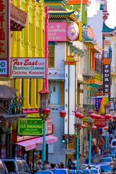 Colorful Chinatown in San Francisco. One of the na...