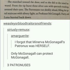 harry potter - minerva mcgonagall I'm certain that a patronus shape is the same shape as a person's animagus shape. Meaning both James and harry both turn into stags and would cast stag patronuses.
