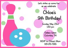 Free Bowling Birthday Party Invitations