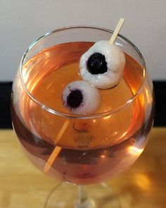 THE CRAZY EYE From: Dr. Marinade Ingredients: • Birthday Cake Vineyards cheesecake wine  • 1 can of whole lychees • Blueberries • Grenadine