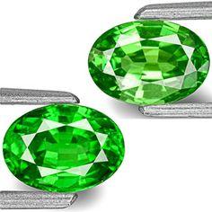 1.87-Carat Pair of 7x5mm Vivid Neon Green Tsavorite Garnets