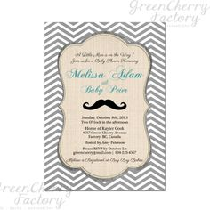 Mustache Baby Shower Invitation - Baby Boy Birthday Invitation - Mustache Invitation - Gray Chevron Mustache Birthday Invitation- No.124. $15.00, via Etsy.
