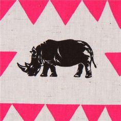 grey rhinoceros triangle echino laminate fabric rhino