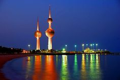 Kuwait Towers in Kuwait City. The main tower is high and serves as a restaurant and water tower. It also has a Viewing Sphere which rises to above sea level and completes a full round turn every 30 minutes. Tourist Places, Places To Travel, Places To See, Places Ive Been, Tourist Spots, Places Around The World, Travel Around The World, Around The Worlds, Water Tower