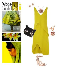 """""""Rose Gold and Lime Color Dress"""" by taci42 ❤ liked on Polyvore featuring Jennifer Fisher, Arosha Luigi Taglia, Bloomingdale's, Narciso Rodriguez, Allurez, Gianvito Rossi, Skinnydip, MELLOW YELLOW, lime and rosegold"""