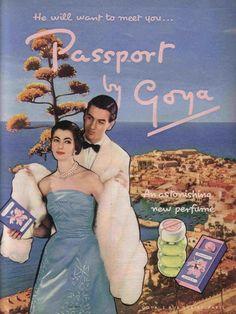 Passport by Goya - 1957 perfume advertisement
