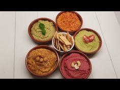 الحمص او Hummus بخمس نكهات تقدم كمقبلات للضيوف👌🥰 - YouTube Hummus, Dips, Ethnic Recipes, Food, Sauces, Essen, Dip, Meals, Yemek