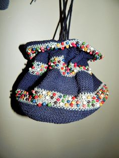 Mid century beaded crocheted bag mothers day by JunqueandStuffe