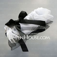 Garter - $4.99 - Elegant White Organza And Black Ribbon Wedding Garter (104019496) http://jenjenhouse.com/Elegant-White-Organza-And-Black-Ribbon-Wedding-Garter-104019496-g19496