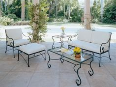 A guide to buying the right wrought iron patio furniture sets Wrought Iron Lounge Sets Wrought Iron Outdoor Furniture, Iron Patio Furniture, Patio Furniture Cushions, Wrought Iron Patio Chairs, Rustic Furniture, Chair Cushions, White Cushions, Modern Furniture, Rattan Furniture