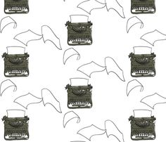 Love this typewriter fabric by avelis on Spoonflower - custom fabric
