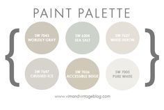 Sherwin Williams Neutrals - Worldly Gray, Sea Salt, White Heron, Crushed Ice, Accessible Beige and Pure White.