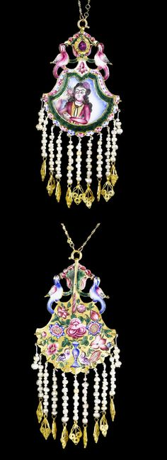 Persia | Qajar enameled gold double sided pendant; one side with a maiden, the other with gul o bul bul, the top with birds flanking a flower on both sides, seed pearl fringe with gold filigree pendants | 19th century | 3'750£ ~ sold (Apr '12)
