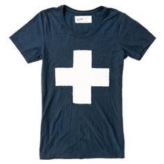 White medic cross on blue tee