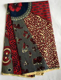 Tissu imprimé africain / Ankara bleu rouge crème chef