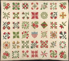 Bedcover (The Circuit Rider's Quilt), c. The Art Institute of Chicago, gift of Emma B. Old Quilts, Star Quilts, Antique Quilts, Vintage Quilts, Quilt Blocks, Civil War Quilts, Green Quilt, Sampler Quilts, Quilting